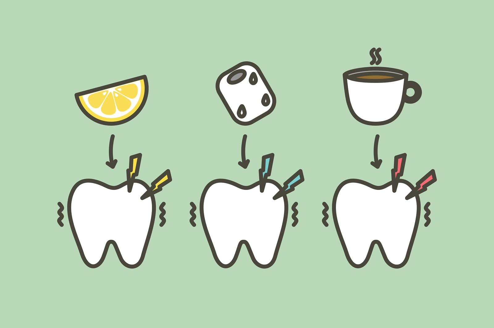 tooth feeling sensitive teeth from cold ice, sour lemon and hot coffee drink - dental cartoon vector flat style cute character for design