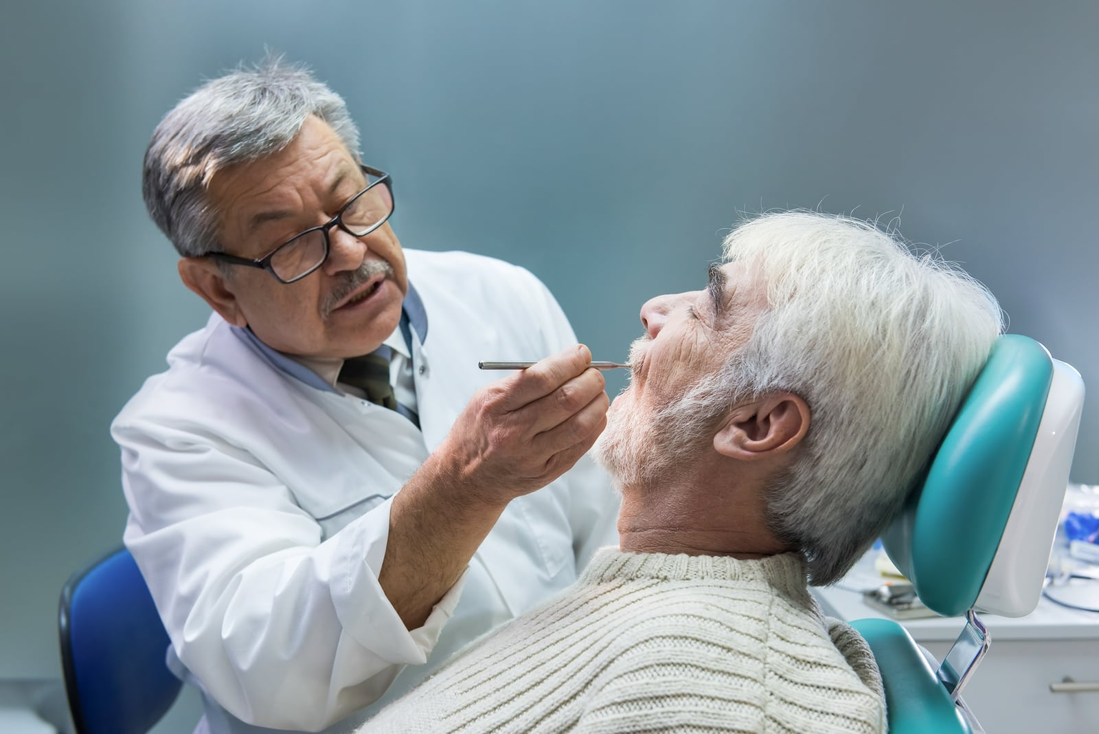 elderly senior citizen at dentist