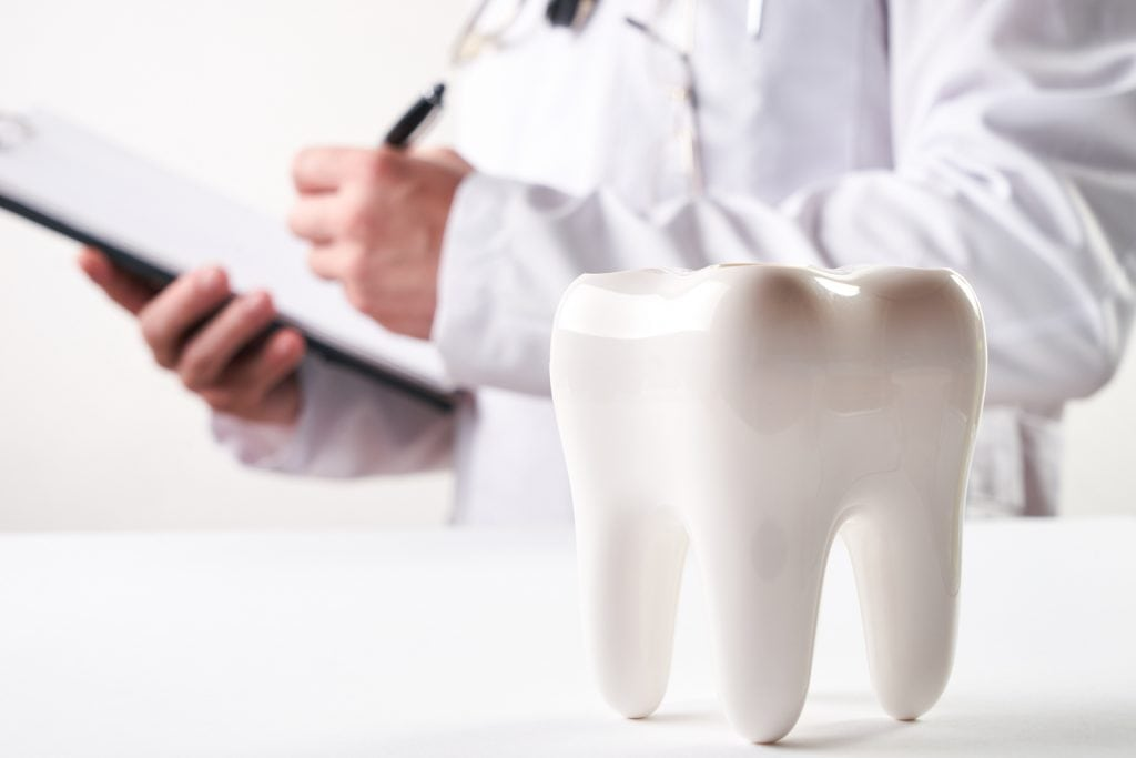Dentist holding clipboard with model tooth in foreground