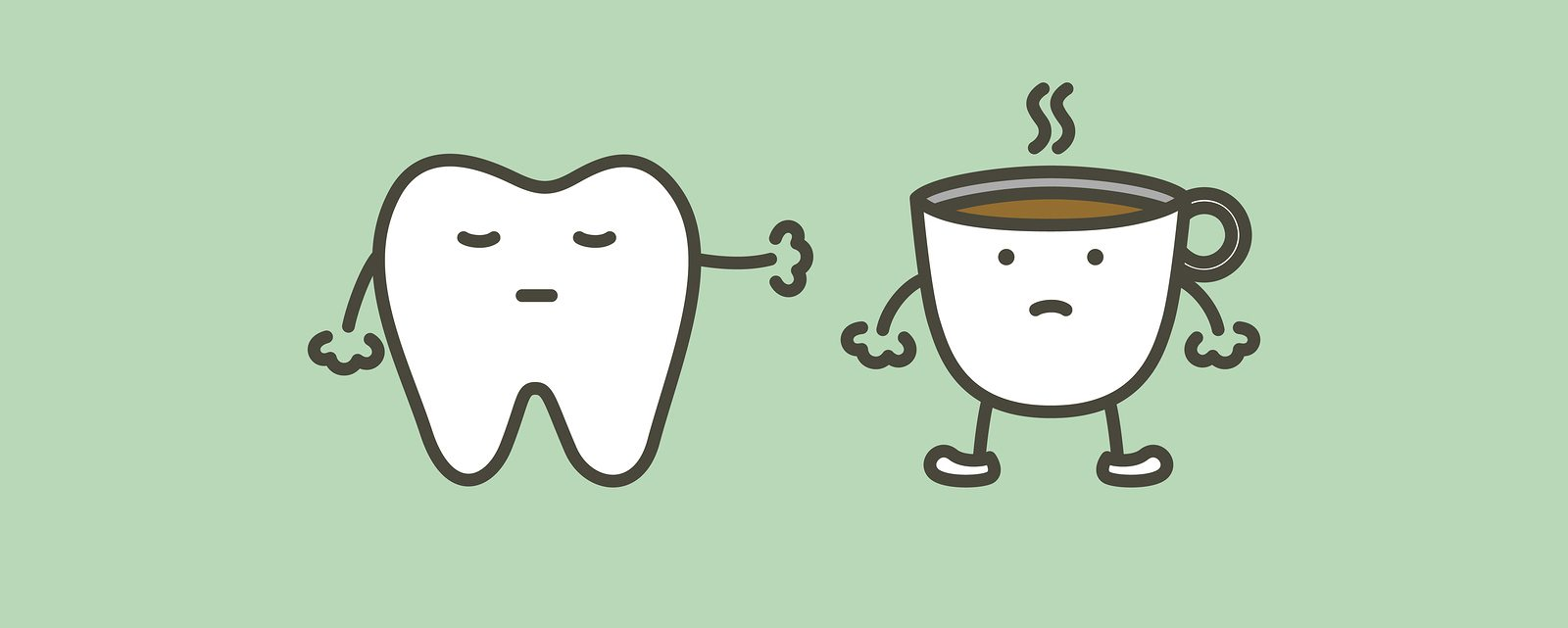 healthy tooth say no to coffee to prevent yellow teeth - dental cartoon vector flat style cute character for design